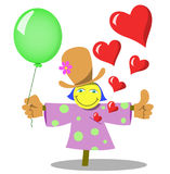 Scarecrow. Merry scarecrow with balloon. Vector illustration Royalty Free Stock Images