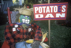 A scarecrow next to a sign referring to a spelling mistake, made by vice-presidential candidate Dan Quayle, during the 1992 campai Royalty Free Stock Photos