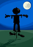 Scarecrow at night cartoon illustration Stock Photos