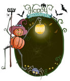 Scarecrow pamkins. Vector illustration of curious scarecrow pamkins holding lantern and rake looking at the dark with lots of scary elements in EPS10 format Stock Image