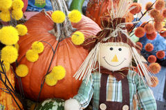 Scarecrow Posing in Fall Display Royalty Free Stock Images