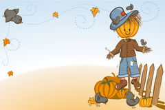 Scarecrow protecting pumpkins. Thanksgiving or Halloween greeting card - Scarecrow protecting pumpkins - every object on separate layer Royalty Free Stock Photo