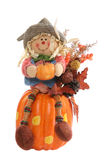 Scarecrow on Pumpkin Stock Photo