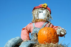 Scarecrow and Pumpkin Stock Photography