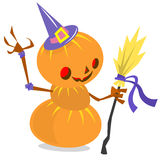 Scarecrow pumpkin head cartoon style isolated on white. Vector Halloween design Royalty Free Stock Image