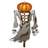 Scarecrow with pumpkin head, symbol of Halloween Royalty Free Stock Images