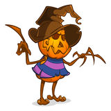 Scarecrow with pumpkin head in a witch hat and rags. Cartoon style pumpkin head with hands. Vector isolated. Stock Image