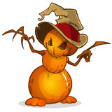 Scarecrow with pumpkin head in a witch hat and rags. Cartoon style pumpkin head Stock Photography