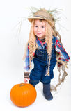 Scarecrow with pumpkin Stock Photography