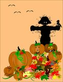 Scarecrow in pumpkin patch. Pumpkin patch protected by scarecrow in silouette Stock Image