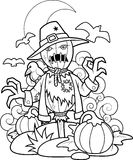 Scarecrow in pumpkin patch Royalty Free Stock Photos