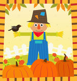Scarecrow and Pumpkins. Cute scarecrow with a bird on his arm, is standing in a pumpkins field. Eps10 Royalty Free Stock Images