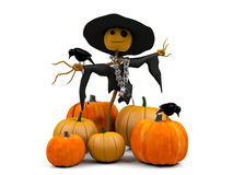 Scarecrow and pumpkins. 3D image smiling scarecrow and pile of pumpkins on white background Royalty Free Stock Photos