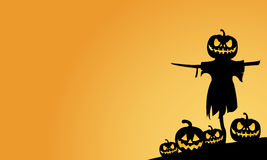 Scarecrow and pumpkins halloween backgrounds. Vector illustration royalty free illustration