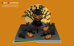 Scarecrow with pumpkins on halloween night. Halloween pop up book from vector royalty free illustration