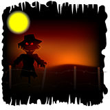 Scarecrow with red eyes. Halloween background with scarecrow with red eyes Stock Images