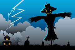 Scarecrow in Scary Night. Illustration of standing scarecrow in scary halloween night Royalty Free Stock Photos
