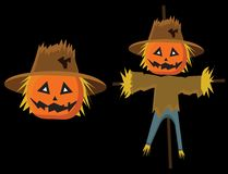 Scarecrow scary with pumkins for kids for halloween stock illustration
