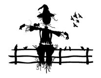 Scarecrow Silhouette. Silhouette of a scarecrow in a fenced in area with birds and mice. Isolated on white Stock Photography
