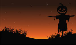 Scarecrow silhouette halloween backgrounds Stock Images