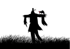 Scarecrow. Silhouette illustration of a scarecrow on a field Royalty Free Stock Images