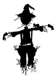 Scarecrow Silhouette. Silhouette of a scarecrow isolated on white Stock Photo