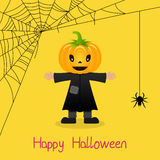 Scarecrow & Spider Web Halloween Card. Happy Halloween card with a cute scarecrow and a spider web on yellow background. Eps file available vector illustration
