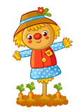 The scarecrow is standing in a garden. The scarecrow is standing in a garden with a carrot and smiling. Vector illustration in a cartoon childlike style. Happy royalty free illustration