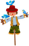 Scarecrow on stick with blue birds. Illustration Stock Photography