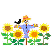 Scarecrow and Sunflowers/eps. Cartoon illustration of a patchwork scarecrow in a field of sunflowers Stock Photos