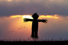 Scarecrow at sunset. Illustration of scarecrow at sunset Royalty Free Stock Image