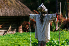 Scarecrow and traditional hut Royalty Free Stock Photos