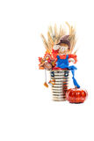 Scarecrow And Turkey Friends Royalty Free Stock Images
