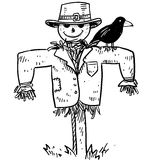 Scarecrow vector. Doodle style sketch of a farm scarecrow with crow or raven in vector illustration Royalty Free Stock Image