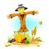 Scarecrow with Vegetable. Illustration of scarecrow with Thanksgiving vegetable Stock Photo