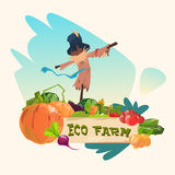 Scarecrow On Vegetable Field Eco Farming Logo Concept Royalty Free Stock Photography