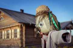 Scarecrow. In village Royalty Free Stock Photo