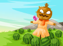 scarecrow  with watermelon Stock Images