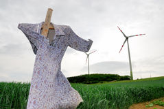 Scarecrow and windmill no.1 Stock Image