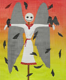 Scarecrow. With wings - children`s artwork Stock Images