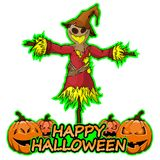 Scarecrow wishes happy halloween on isolated white background. File in layers and editable stock illustration
