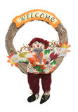 Scarecrow Wreath. A colorful Thanksgiving wreath with scarecrow isolated over white Stock Photos