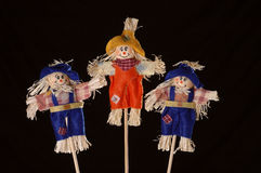 Scarecrows. Three cheerful scarecrows in a line against a black background Royalty Free Stock Photos