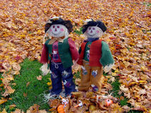 Scarecrows. Found in the fall amond colorful leaves. They add to the friendliness of the area Stock Image