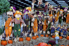 Scarecrows. Colored bright autumn scarecrows to decorate gardens. pumpkins and straw. Happy harvest royalty free stock image