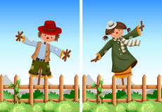 Scarecrows in the field. Illustration Stock Photos