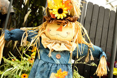 Scarecrows with flowers and hay Royalty Free Stock Photography