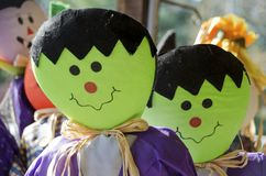 Halloween Scarecrows. Scarecrows of friendly Frankenstein monsters for Halloween Royalty Free Stock Photos