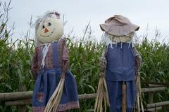 Scarecrows in a garden. Friendly scarecrows protecting a garden from birds Stock Photography