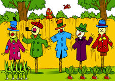 Scarecrows in the garden Stock Photos